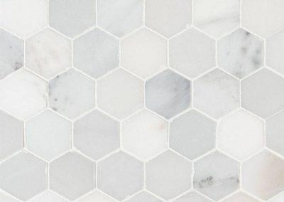 Arabescato Carrara 2-inch Hexagon Hone Kitchen Backsplash Subway Tiled