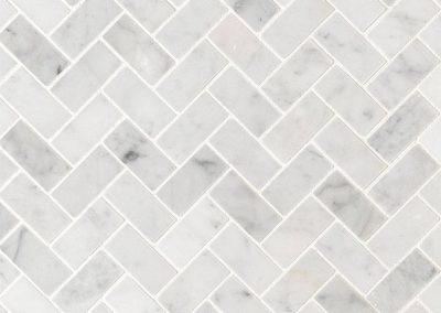 Carrara White 1x2 Herringbone-Honed Kitchen Backsplash Subway Tile