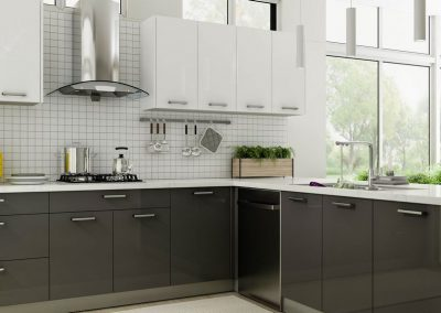 High Gloss Gray European Kitchen Cabinets in Colorado Springs