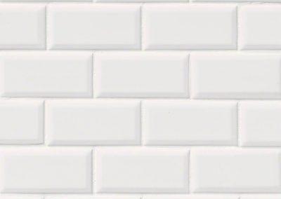 Domino White Glossy Beveled 2x4 Kitchen Backsplash Subway Tile